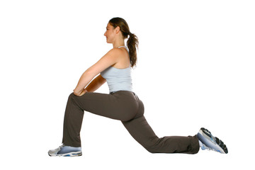 fitness trainer  stretching for her calf and back muscle