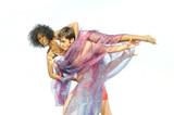 Young multiracial couple in artistic pose isolated poster