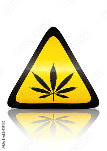 Symbole de danger drogue (reflet métal)