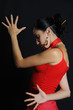 Dramatic spanish flamenco dancer woman