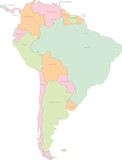 South America continental vector map with states  poster