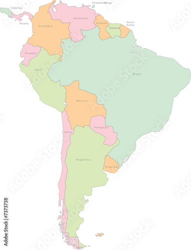 poster of South America continental vector map with states