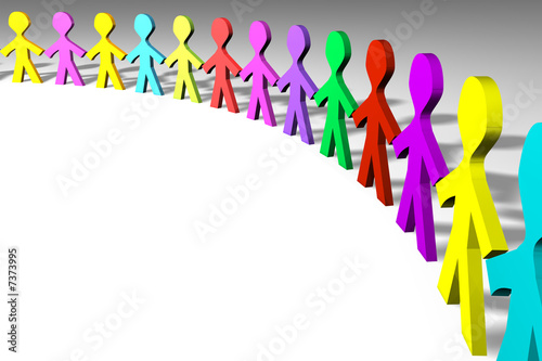 Colorful 3D people in a circle shape