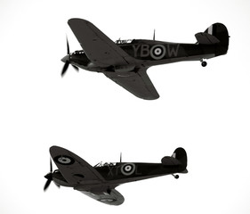 Historic ww2 aircraft the spitfire and hurricain