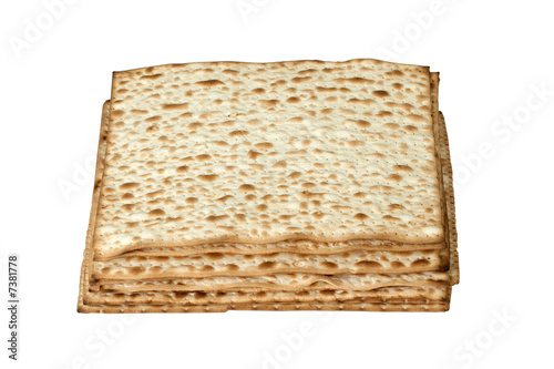 matzo. jewish passover bread isolated on white