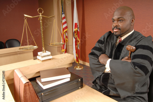 Judge in his courtroom
