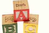 ABC learning blocks on white poster