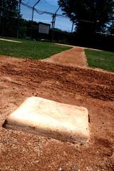 Baseball base on the infield