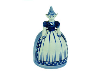 Traditional Dutch Delft figurine bell isolated