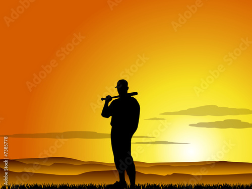 Baseball player at sunset