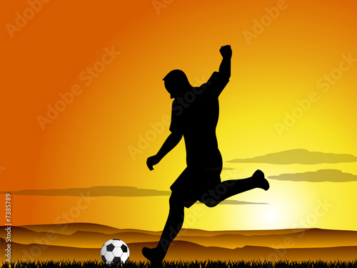 football player at sunset