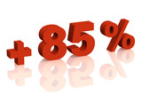 Red 3d inscription - plus of eighty five percent poster