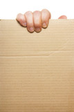 Hand holding blank cardboard poster