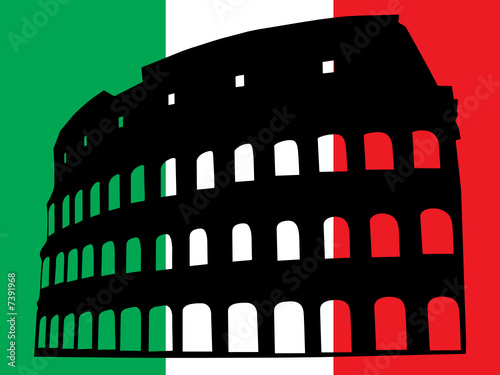 Vector of the italian flag and the Colosseum