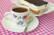 Chocolate cake and tea