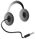 headphones or earphones with adapter cord  poster