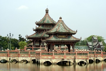 pagoda on a bridge. pagoda on a bridge over a lake