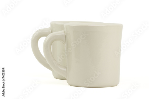 Two white coffee mugs