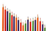 Business graph illustrating decrease made up of colored pencils poster