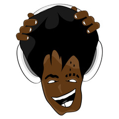 Afro hairstyle cartoon music face