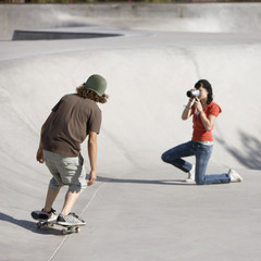 Videotaping skateboard action
