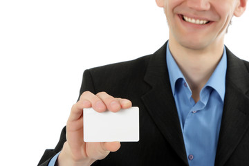 friendly business man represents business card