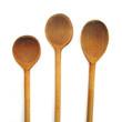 Three wooden ladles