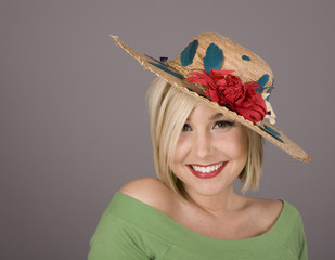 Blonde in Flowered Hat and Nice Smile