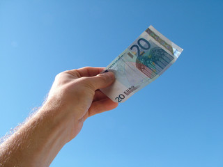 Hand holding Euro Bank note
