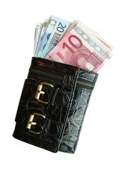 Purse with euro banknotes