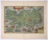 Iceland. Antique map poster
