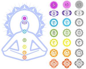 Seven Chakras  and spirituality symbols