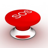 button with an inscription the SOS on a white background. poster