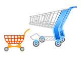 Adult and children shopping carts in editable vector poster