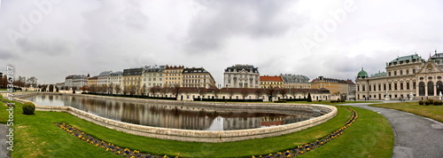 Panorama of Belvedere Palace Park in Vienna