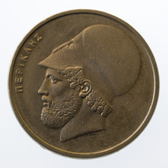 Pericles, ancient Greek leader and statesman, on 20 drachmas coi