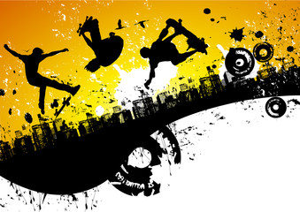 Skateboard city background