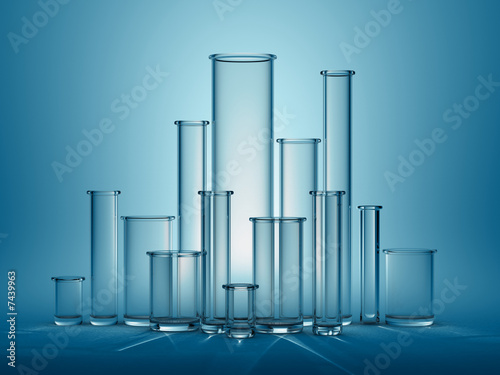 Glass test tubes of all sizes
