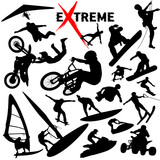 Vector eXtreme sport silhouettes poster