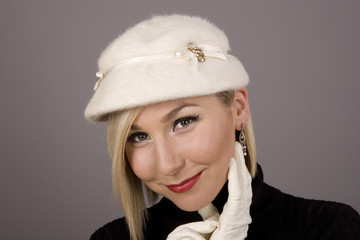 Blonde Fur Hat White Glove on Cheek
