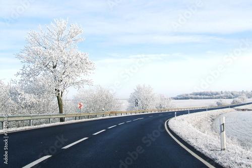 Leinwanddruck Bild Kurve im Winter