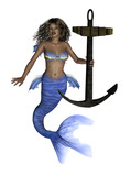 African Mermaid with Anchor poster