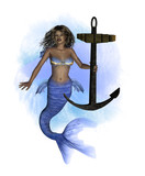 African Mermaid with Anchor- Splash Background poster