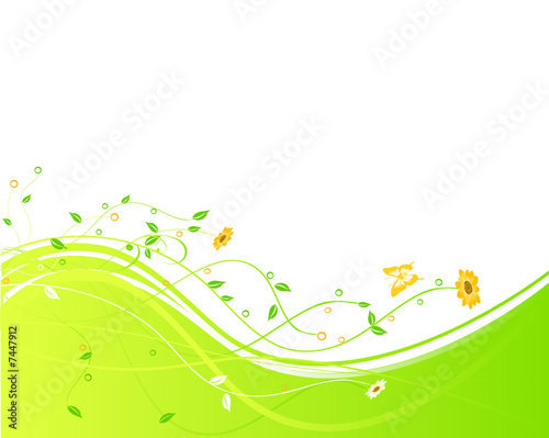 floral background with flowers and butterfly