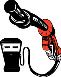 Gasoline pump nozzle knotted poster
