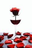 Red rose and red wine