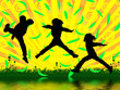 Leinwanddruck Bild - jumping boys
