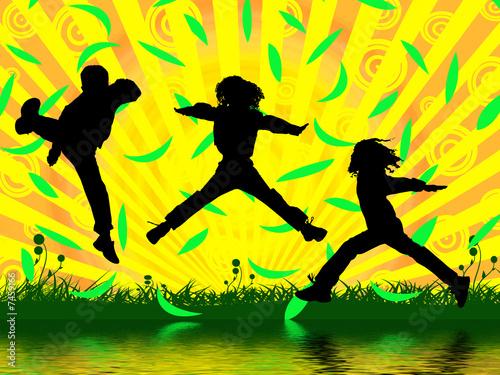 Leinwanddruck Bild jumping boys