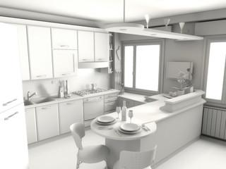 Render in grigio di cucina