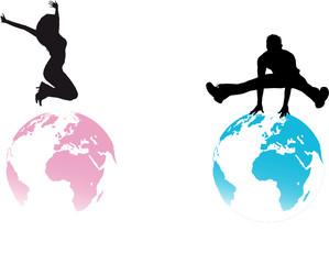 silhouettes homme et femme sautant sur des planètes